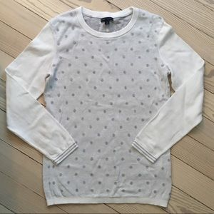 Tommy Hilfiger White and Grey Polka Dot Sweater
